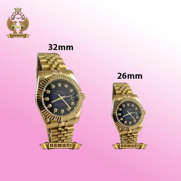 ساعت زنانه رولکس دیت جاست Rolex Datejust RODJL103 طلایی صفحه سرمه ای