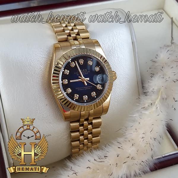 خرید ، قیمت ، مشخصات ساعت زنانه رولکس دیت جاست Rolex Datejust RODJL103 طلایی صفحه سرمه ای