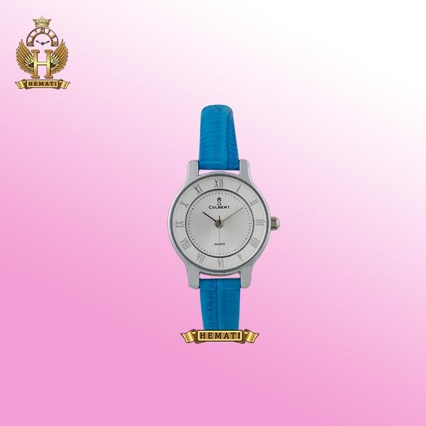 ساعت دخترانه کلبرت کد 0105L COLBERT ساعتی ظریف با قاب نقره ای و بند چرم آبی و سفید