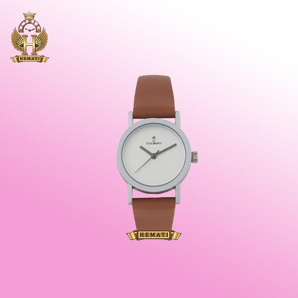 خرید ساعت زنانه کلاسیک ساده پسند کلبرت 0113L COLBERT قاب نقره ای مات بند قهوه ای سفید چرم