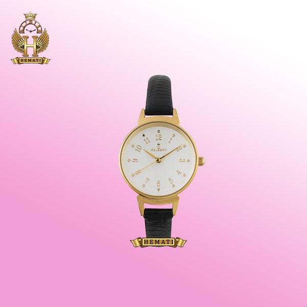 خرید ساعت زنانه دخترانه کلبرت قاب طلایی بند چرم مشکی 0118L COLBERT