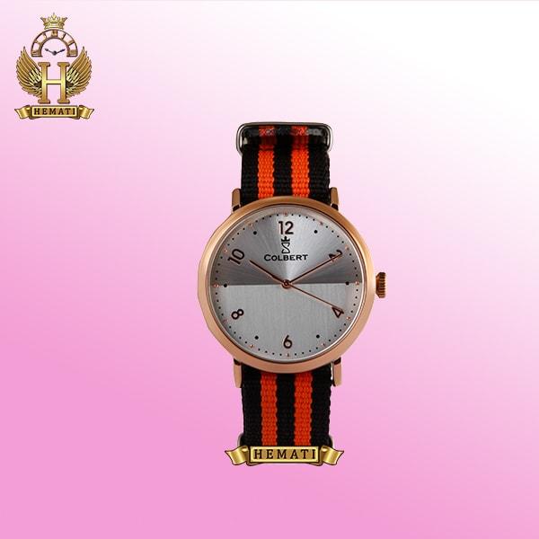 خرید ساعت کلبرت 0155L COLBERT بند برزنتی سبز و نارنجی قاب رزگلد مدل اسپرت