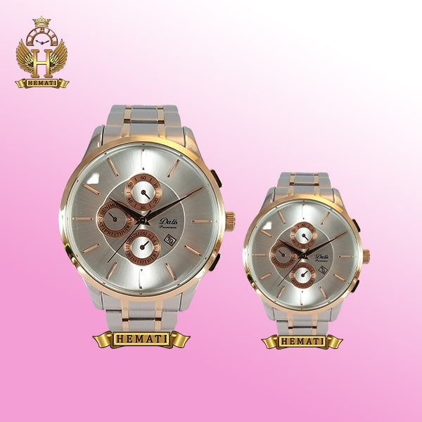 خرید ساعت ست مردانه و زنانه داتیس مدل D8364DG نقره ای رزگلد اورجینال