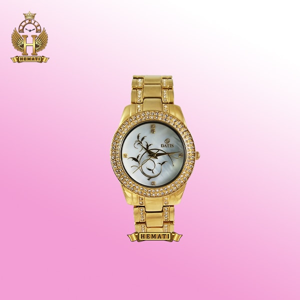 ساعت مچی زنانه داتیس مدل Datis D8009L طلایی دورقاب نگین دار اورجینال