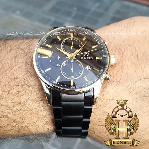 خرید اینترنتی ساعت داتیس مردانه 3 موتوره کورنوگراف مدل datis d8297fg قاب طلایی بند مشکی