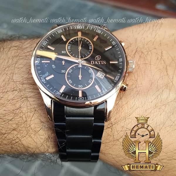 خرید انلاین ساعت داتیس مردانه 3 موتوره کورنوگراف مدل datis d8297fg قاب رزگلد بند مشکی