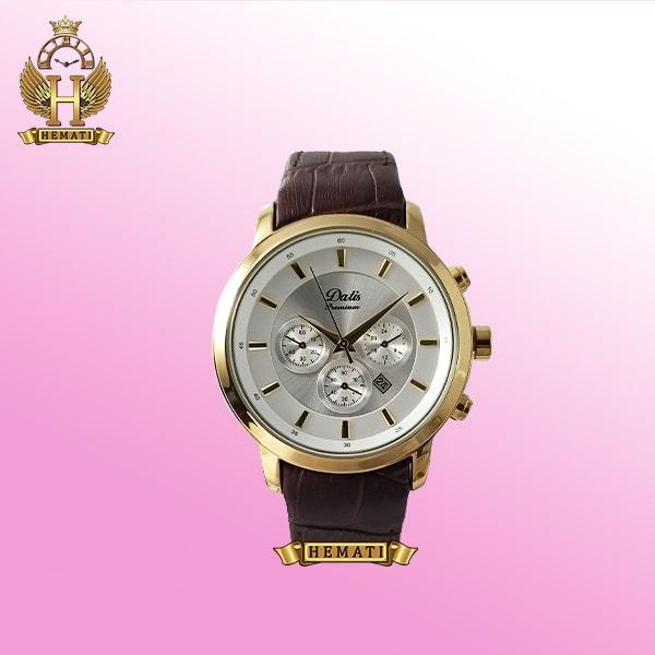 خرید ساعت مردانه داتیس مدل D8360GL عقربه ای بند چرمی قاب رزگلد اورجینال