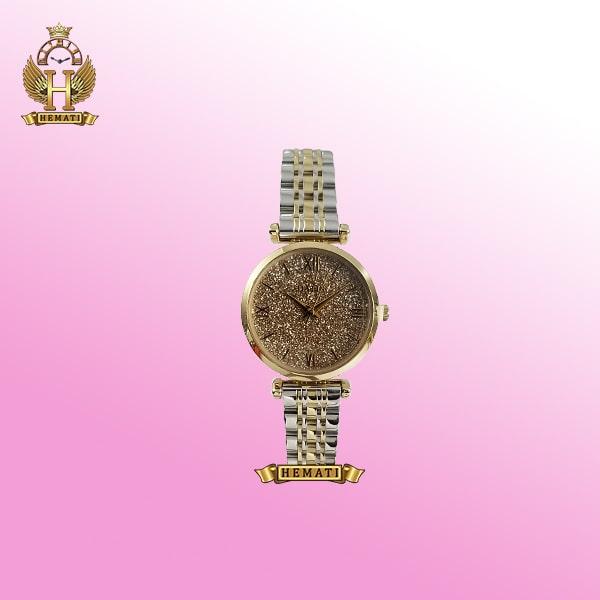 ساعت مچی زنانه داتیس D8373FL نقره ای - طلایی صفحه ساعت شیشه نسکافه ای اورجینال