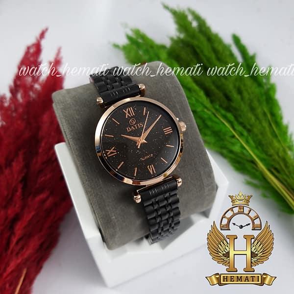 خرید ساعت زنانه داتیس مدل DATIS D8373FL مشکی رزگلد شیشه کافی