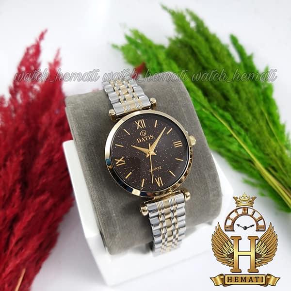 خرید ساعت زنانه داتیس اورجینال نقره ای طلایی مدل DATIS D8373FL شیشه کافی