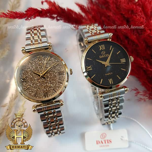 خرید اینترنتی ساعت زنانه داتیس اورجینال مدل DATIS D8373FL نقره ای طلایی با شیشه کافی