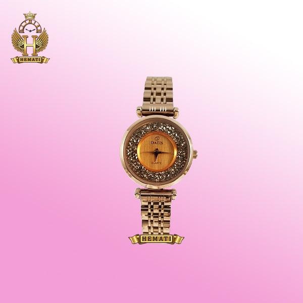 ساعت داتیس زنانه مدل D8374L رزگلد صفحه شیشه نسکافه ای
