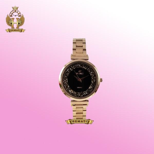 خرید ساعت داتیس زنانه مدل D8339CL رزگلد صفحه مشکی نگین دار
