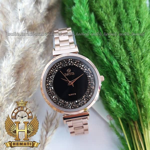 ساعت زنانه داتیس اورجینال مدل DATIS D8339L رزگلد با نگین سوارفسکی صفحه مشکی شیشه کافی