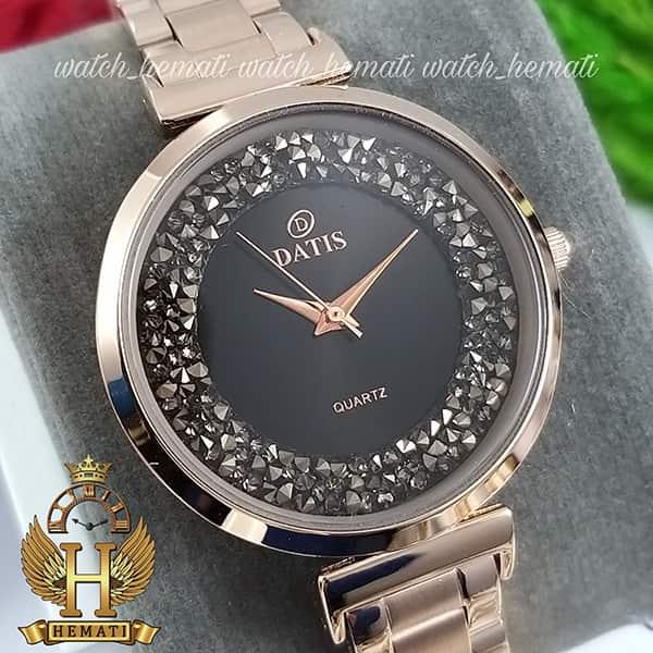 خرید انلاین ساعت زنانه داتیس اورجینال مدل DATIS D8339L رزگلد با نگین سوارفسکی صفحه مشکی شیشه کافی