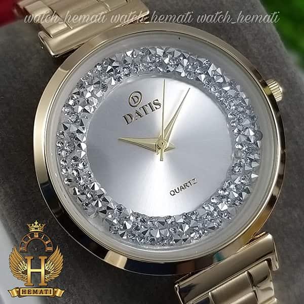 خرید آنلاین ساعت زنانه داتیس اورجینال مدل DATIS D8339L طلایی با نگین سوارفسکی صفحه نقره ای