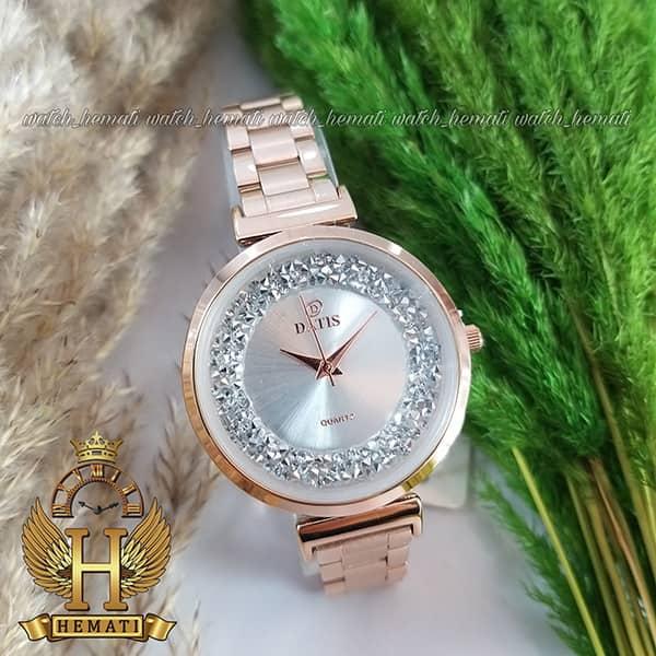خرید ساعت زنانه داتیس اورجینال مدل DATIS D8339L رزگلد با نگین سوارفسکی صفحه نقره ای