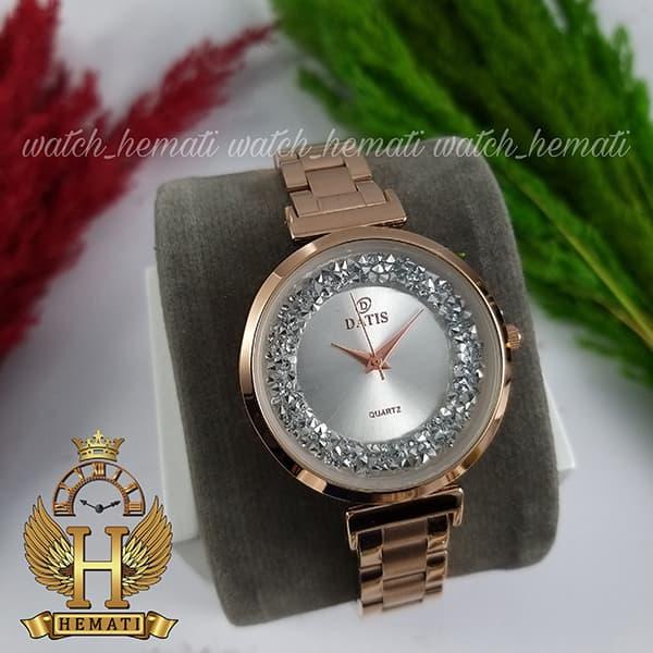 خرید انلاین ساعت زنانه داتیس اورجینال مدل DATIS D8339L رزگلد با نگین سوارفسکی صفحه نقره ای صفحه نقره ای