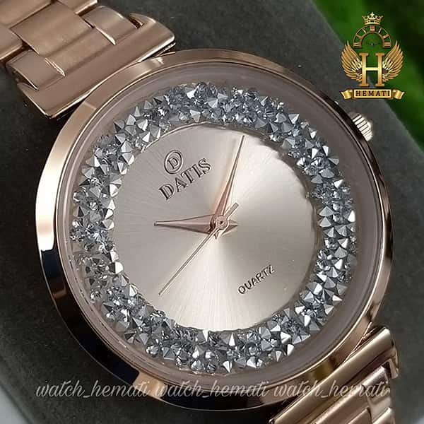 خرید ساعت مچی زنانه داتیس اورجینال مدل DATIS D8339L رزگلد با نگین سوارفسکی صفحه رزگلد