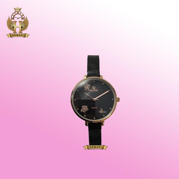 خرید ساعت زنانه داتیس مدل D8409L بند و صفحه مشکی و قاب رزگلد اورجینال