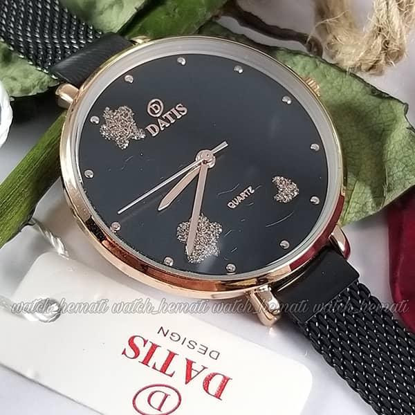 قیمت ساعت زنانه داتیس مدل DATIS D8409L قاب رزگلد بند حصیری مشکی