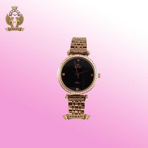 ساعت زنانه داتیس D8546L رنگ نسکافه ای دورقاب نگین دار
