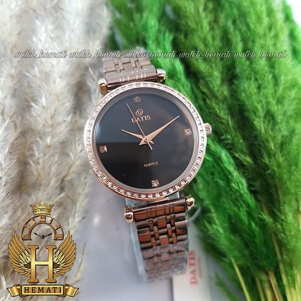 ساعت زنانه داتیس اورجینال مدل DATIS D8456L قاب و بند کافی صفحه مشکی