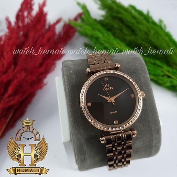 قیمت ساعت زنانه داتیس اورجینال مدل DATIS D8456L قاب و بند کافی صفحه مشکی