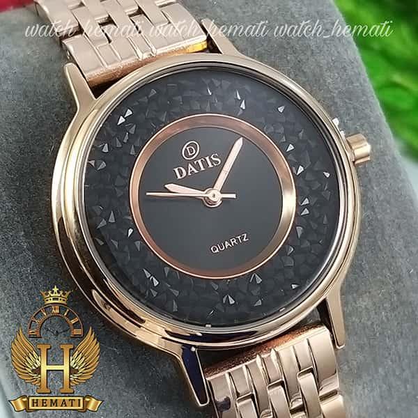 قیمت ساعت زنانه داتیس اورجینال مدل DATIS D8461L رزگلد نگین ها سوارفسکی مشکی