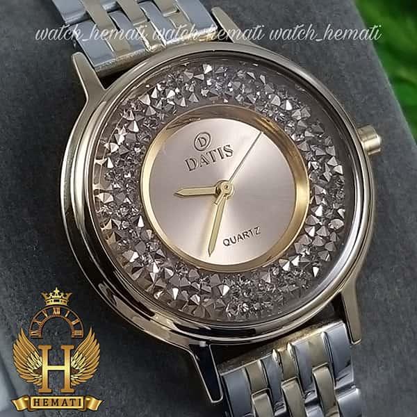خرید ساعت زنانه داتیس اورجینال مدل DATIS D8461L نقره ای طلایی نگین ها سوارفسکی شیشه کافی