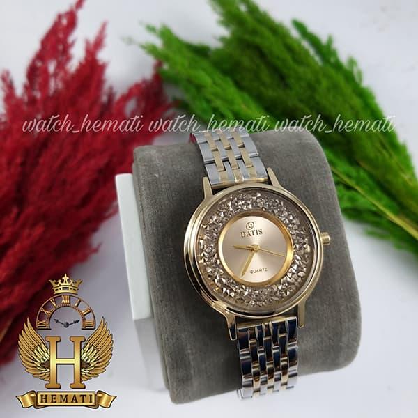 قیمت ساعت زنانه داتیس اورجینال مدل DATIS D8461L نقره ای طلایی نگین ها سوارفسکی شیشه کافی