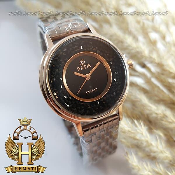 خرید ساعت زنانه داتیس اورجینال مدل DATIS D8461L کافی نگین ها مشکی سوارفسکی