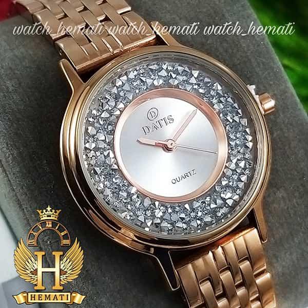 قیمت ساعت زنانه داتیس اورجینال مدل DATIS D8461L رزگلد نگین ها سوارفسکی