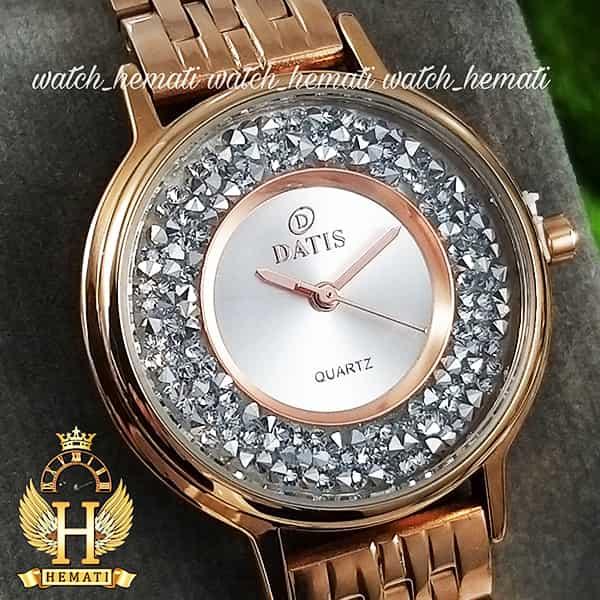 خرید اینترنتی ساعت زنانه داتیس اورجینال مدل DATIS D8461L رزگلد نگین ها سوارفسکی