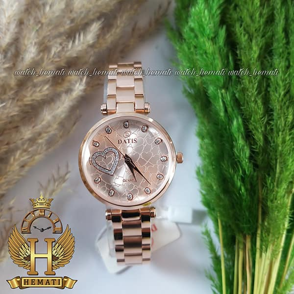 ساعت زنانه داتیس اورجینال مدل DATIS D8463L رزگلد شیشه بی رنگ