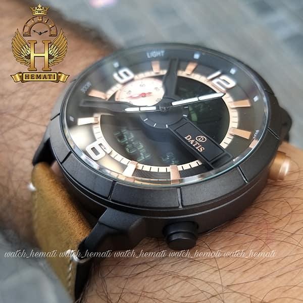 خرید آنلاین ساعت مردانه داتیس دو زمانه ساعت جهانی بند چرم مدل datis d8465ag رنگ مشکی رزگلد با بند عسلی
