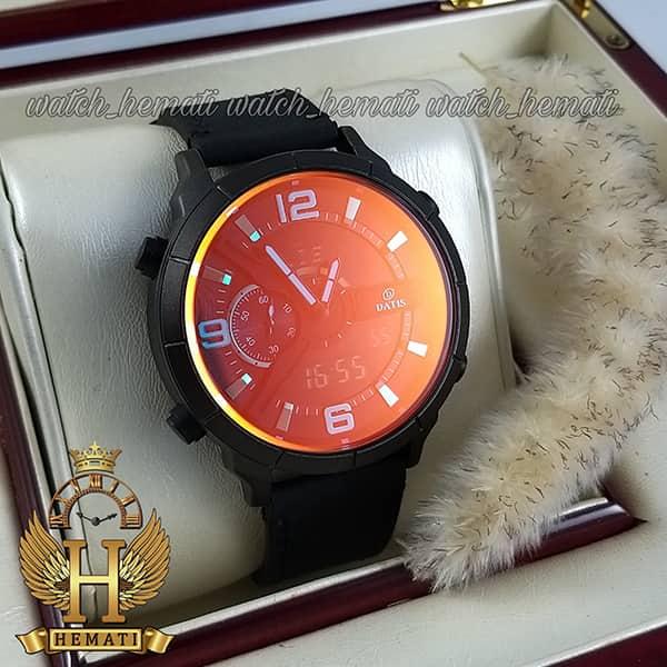 ساعت مردانه داتیس دو زمانه ساعت جهانی مدل datis d8465ag رنگ مشکی با شیشه آبی و با بند چرم مشکی
