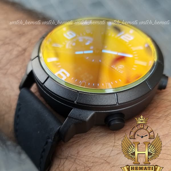 خرید انلاین ساعت مردانه داتیس دو زمانه ساعت جهانی مدل datis d8465ag رنگ مشکی با شیشه آبی و با بند چرم مشکی