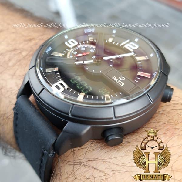 ساعت مردانه داتیس دو زمانه ساعت جهانی مدل datis d8465ag رنگ مشکی رزگلد با بند چرم مشکی