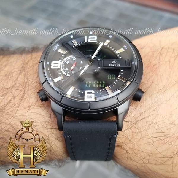 قیمت ساعت مردانه داتیس دو زمانه ساعت جهانی مدل datis d8465ag رنگ مشکی رزگلد با بند چرم مشکی