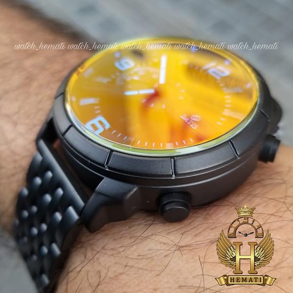 ساعت مردانه داتیس دو زمانه ساعت جهانی مدل datis d8465ag بند فلزی و قاب و بند مشکی و شیشه آبی