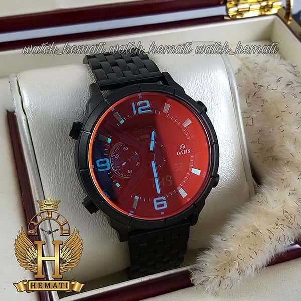خرید ساعت مردانه داتیس دو زمانه ساعت جهانی مدل datis d8465ag بند فلزی و قاب و بند مشکی و شیشه آبی