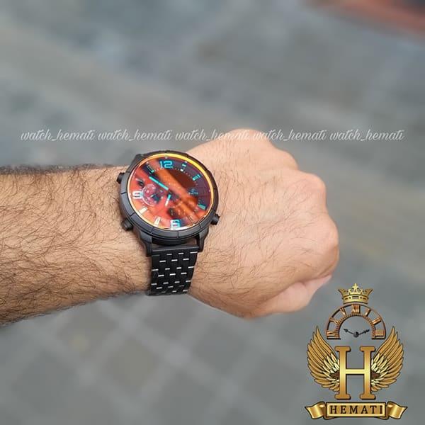 قیمت ساعت مردانه داتیس دو زمانه ساعت جهانی مدل datis d8465ag بند فلزی و قاب و بند مشکی و شیشه آبی