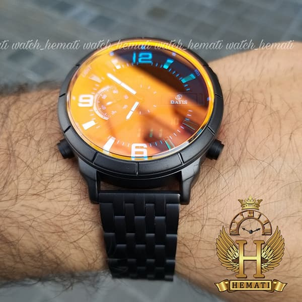 خرید آنلاین ساعت مردانه داتیس دو زمانه ساعت جهانی مدل datis d8465ag بند فلزی و قاب و بند مشکی و شیشه آبی