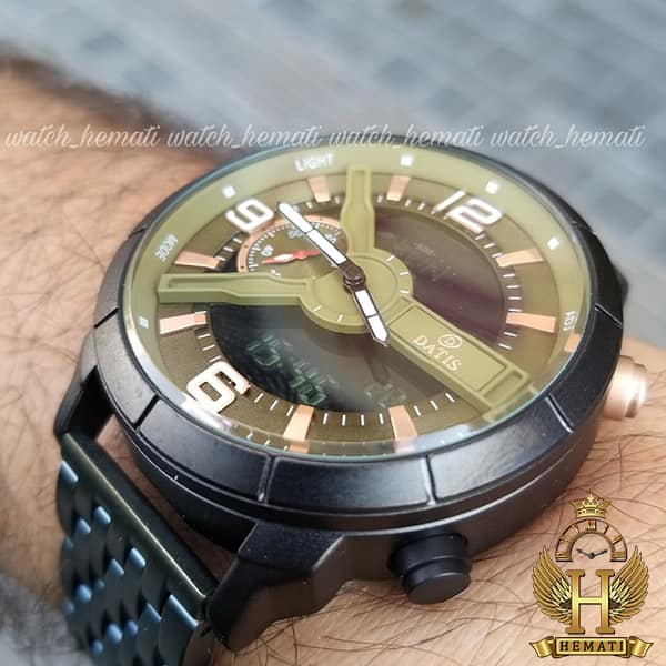 ساعت مچی مردانه داتیس مدل Datis D8465AG دوزمانه سبز