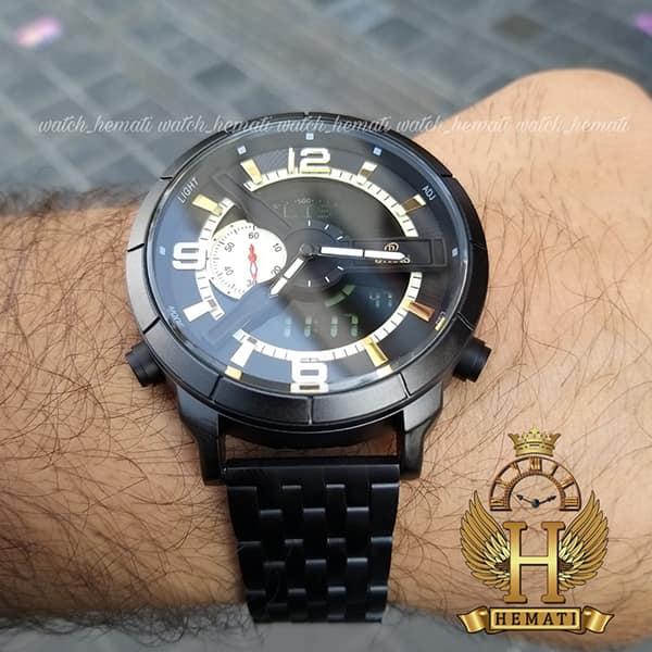 ساعت مچی مردانه داتیس دو زمانه ساعت جهانی مدل datis d8465ag قاب و بند فلزی مشکی و صفحه مشکی و طلایی