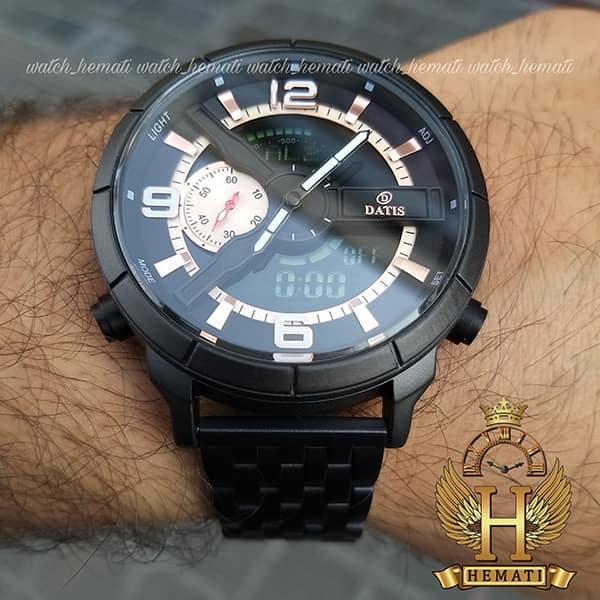 خرید ساعت مچی مردانه داتیس دو زمانه ساعت جهانی مدل datis d8465ag قاب و بند فلزی مشکی و صفحه مشکی و رزگلد