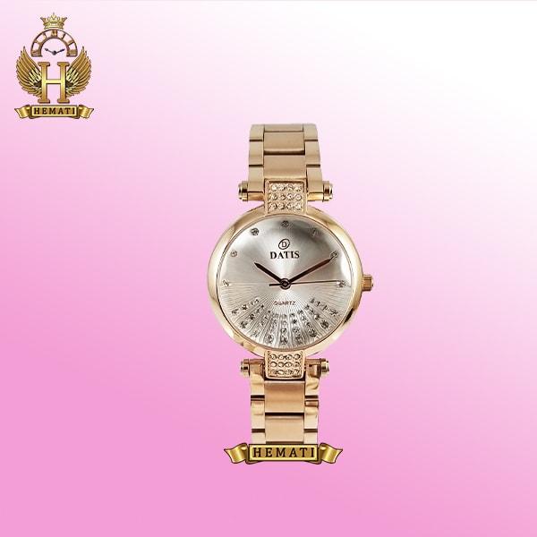 خرید ساعت زنانه داتیس مدل Datis D8465L رزگلد صفحه شیشه ای ساده