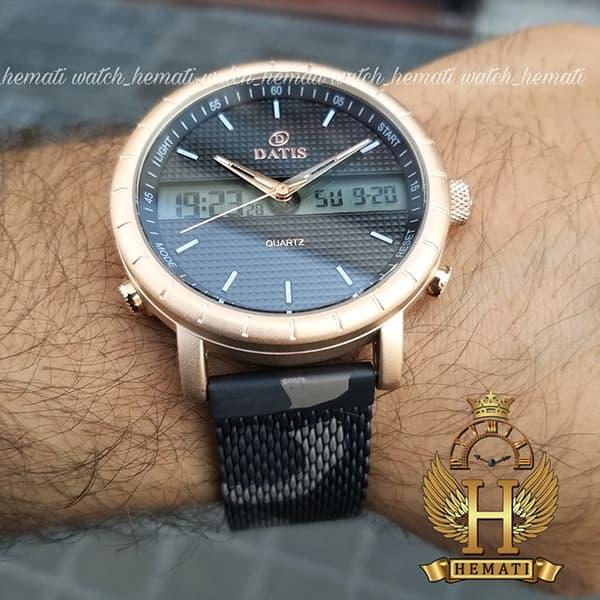 خرید اینترنتی ساعت مردانه داتیس دوزمانه مدل D8471G بند چریکی اورجینال قاب رزگلد