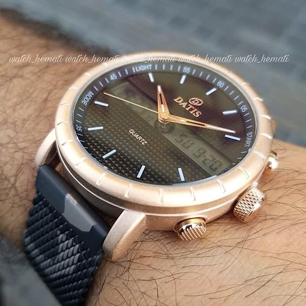 خرید ساعت مردانه دوزمانه داتیس مدل D8471G بند چریکی اورجینال قاب رزگلد